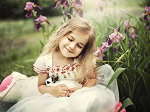Fonds d'écran Petites filles Sourire Les robes Blondeur Fille Enfants