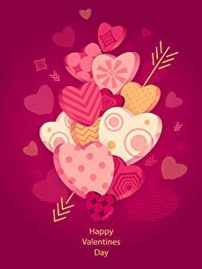 Papéis de parede Dia dos Namorados Cor de fundo Coração Flecha De Madeira Inglês 3D Gráfica