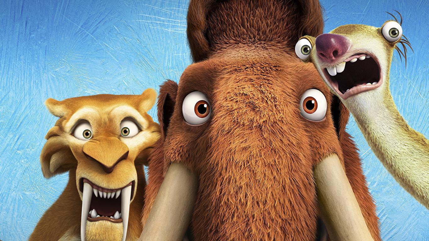 Hintergrundbilder Ice Age – Kollision voraus! Mammute Diego, Manny, Sid Animationsfilm 1366x768 Zeichentrickfilm