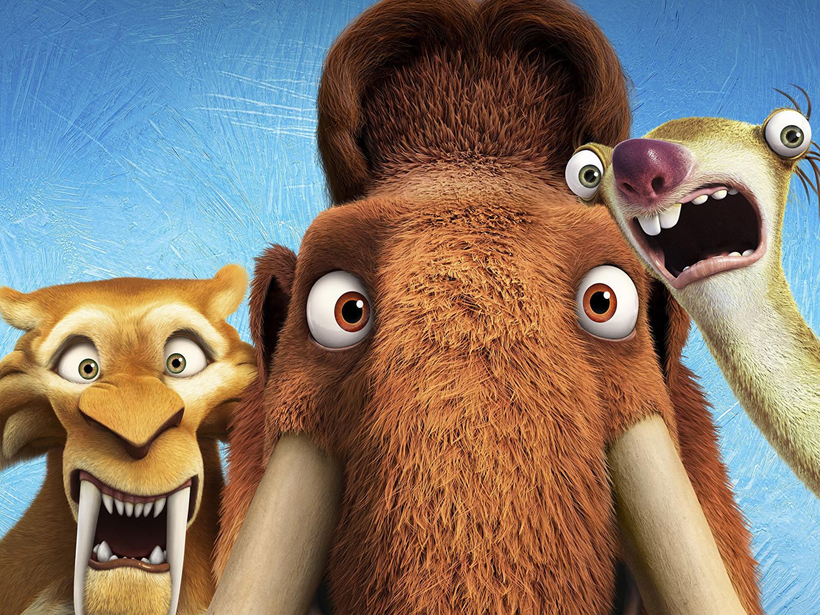 Hintergrundbilder Ice Age – Kollision voraus! Mammute Diego, Manny, Sid Animationsfilm 1600x1200 Zeichentrickfilm
