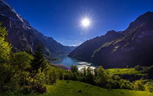 Bilder Schweiz Gebirge See Landschaftsfotografie Sonne Strauch Lake Klontal Glarus