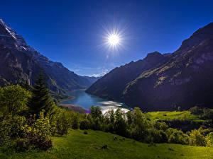 Bilder Schweiz Gebirge See Landschaftsfotografie Sonne Strauch Lake Klontal Glarus Natur
