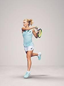 Hintergrundbilder Tennis Laufsport Grauer Hintergrund Bein Australian WTA Daria Gavrilova sportliches Mädchens