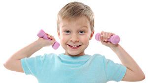 Bilder Weißer hintergrund Jungen Lächeln Hanteln Hand kind