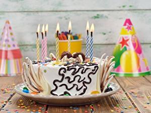 Papéis de parede Bolo Aniversário Velas Alimentos