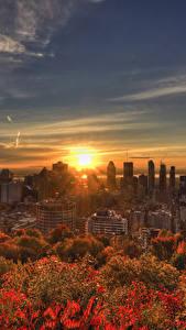 Bilder Kanada Gebäude Sonnenaufgänge und Sonnenuntergänge Herbst Himmel Megalopolis Montreal Städte