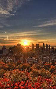 Bilder Kanada Gebäude Sonnenaufgänge und Sonnenuntergänge Herbst Himmel Megalopolis Montreal