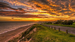 Hintergrundbilder England Landschaftsfotografie Morgendämmerung und Sonnenuntergang Küste Straße Himmel Wolke Rother District Natur