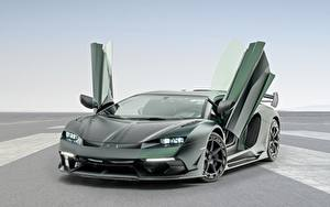 Hintergrundbilder Lamborghini Grün Carbon Offene Tür Aventador, Mansory, 2020, SVJ, Cabrera auto