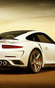 Hintergrundbilder Porsche Weiß Hinten GTR 911 Stinger Turbo Mädchens
