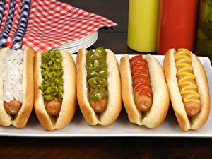 Bilder Fast food Hotdog Frankfurter Würstel
