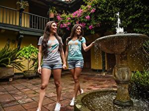 Fotos Springbrunnen Zwei Schöner Shorts Lächeln Braune Haare T-Shirt Mädchens