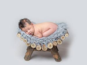 Fotos Grauer Hintergrund Säugling Schlafendes Kinder