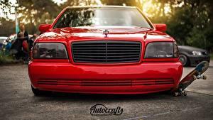 Fotos Fahrzeugtuning Mercedes-Benz Vorne Rot Auto Scheinwerfer w140 s320 Autos