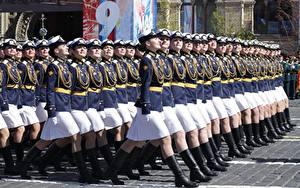 Papéis de parede Dia da Vitória 9 de maio Parada militar Russo Kursant Meninas