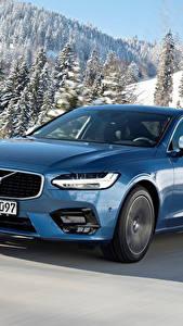 Bilder Volvo Hellblau Metallisch Bewegung 2016-17 S90 T5 R-Design Worldwide Autos