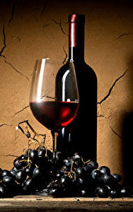 Fotos Wein Weintraube Wände Weinglas Flaschen Lebensmittel