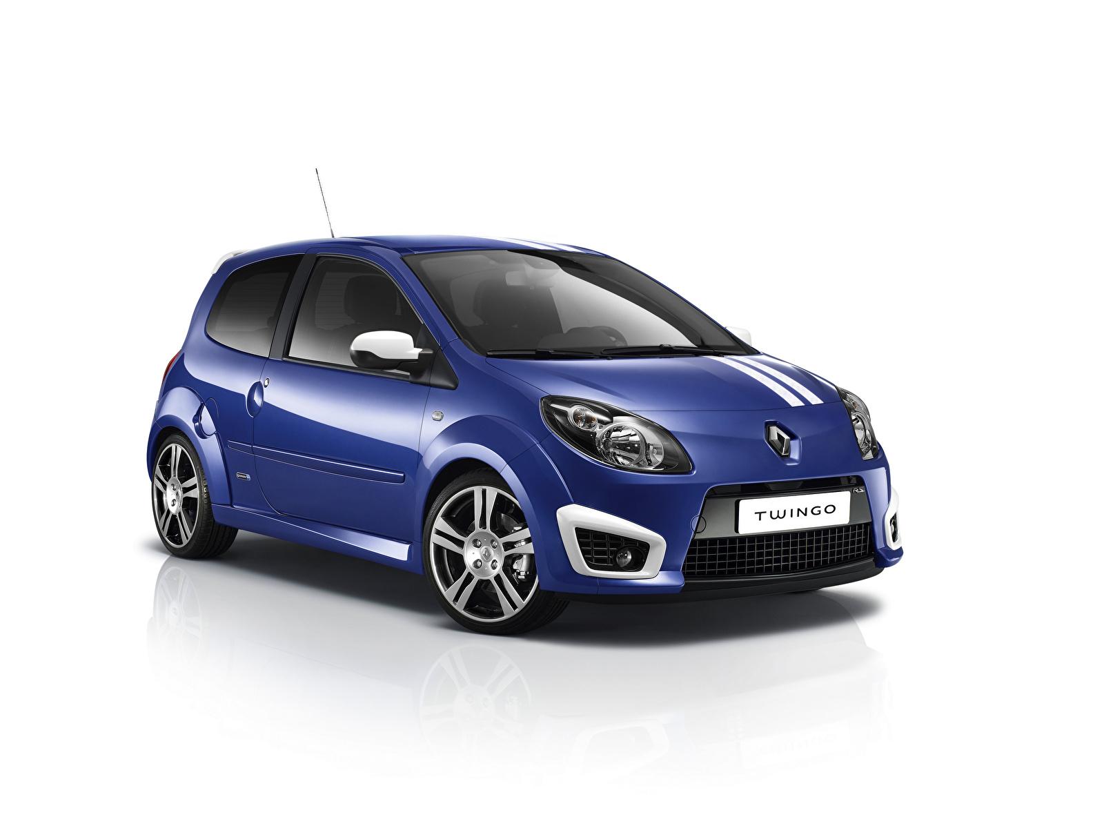 Fotos Renault Blau Autos Metallisch Weißer hintergrund 1600x1200 auto automobil