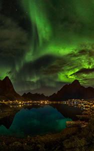 Bilder Norwegen Gebirge See Himmel Nacht Wolke Nordlicht Reine Natur
