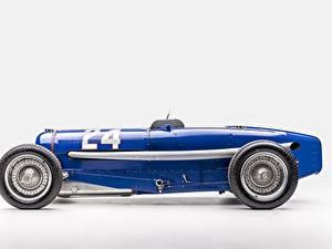 Hintergrundbilder Antik BUGATTI Blau Grauer Hintergrund Classic Grand Prix 1933 Type 59 Grand Prix Autos