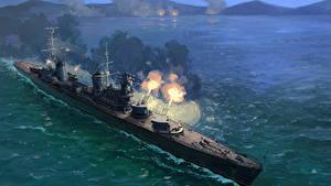 Bilder Schiffe Gezeichnet Schuss Russisches Cruiser Molotov Militär