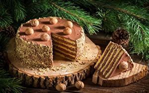 Fotos Torte Neujahr Schalenobst Stück Lebensmittel
