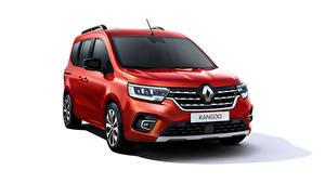Hintergrundbilder Renault Ein Van Rot Metallisch Weißer hintergrund Kangoo, 2021 auto
