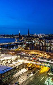 Hintergrundbilder Stockholm Schweden Gebäude Flusse Straße Nacht Von oben Städte