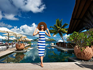 Pictures Resorts Pools Hat Frock Glasses