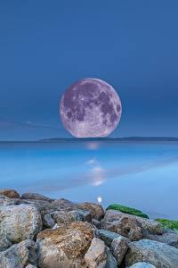 Bilder Meer Steine Abend Mond Horizont