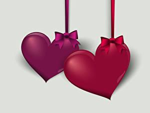 Bilder Valentinstag Vektorgrafik Grauer Hintergrund Herz Zwei Schleife