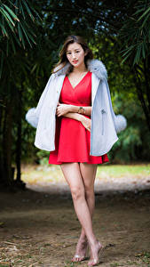 Fotos Asiaten Kleid Bein junge frau