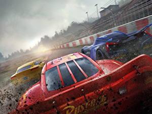 Hintergrundbilder Cars 3 Rot Hinten Lightning McQueen, Cruz RamireJackson Stormz Zeichentrickfilm