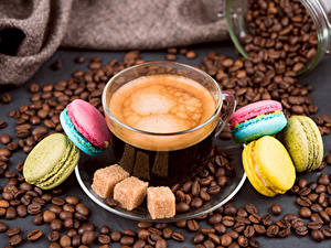 Fotos Kaffee Tasse Getreide Macaron Zucker Lebensmittel