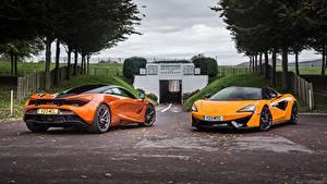 Hintergrundbilder McLaren Zwei Orange Metallisch Autos