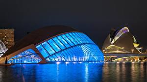Bilder Spanien Nacht Valencia, Ciudad de las Artes y las Ciencias
