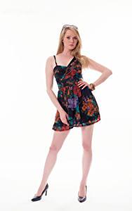 Hintergrundbilder Carla Monaco Blondine Kleid Blick Weißer hintergrund Mädchens