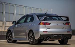 Tapety na pulpit Mitsubishi Widok z tyłu Szary Metaliczna 2014, Lancer Evolution X Samochody