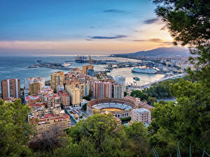 Pictures Spain Houses Pier Branches Malaga Cities