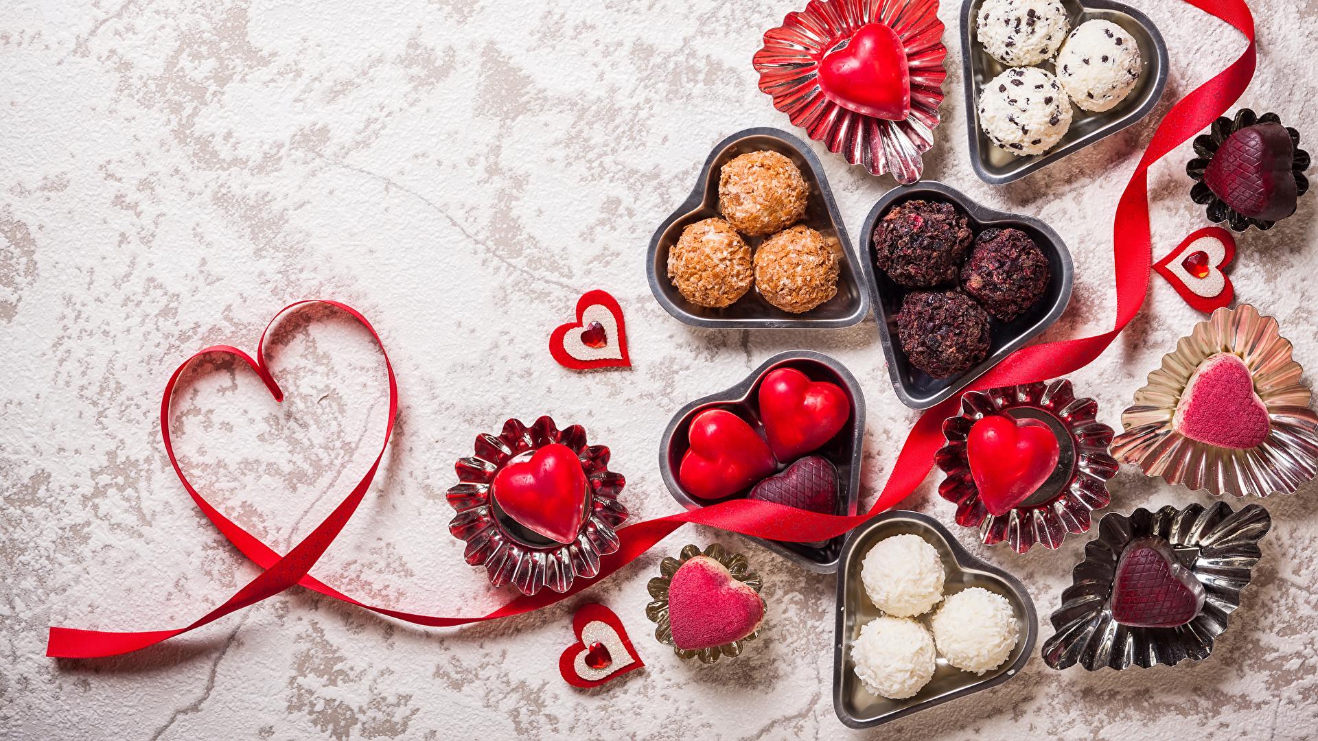 1920x1080、バレンタインデー、菓子、キャンディ、ハート、リボン、食べ物、食品、
