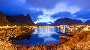 Wallpapers Norway Lofoten Evening Building Autumn Mountain Marinas Bay Reine Cities Nature