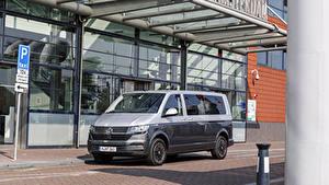 桌面壁纸,,大众汽车,多功能休旅車,灰色,金屬漆,2019-20 Caravelle LWB Worldwide,