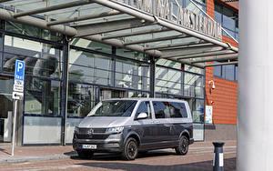 Bakgrundsbilder på skrivbordet Volkswagen Minibuss Grå Metallisk 2019-20 Caravelle LWB Worldwide