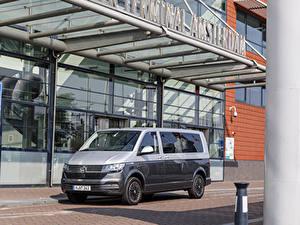 Papel de Parede Desktop Volkswagen Minivan Cinza Metálico 2019-20 Caravelle LWB Worldwide Carros