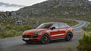 Hintergrundbilder Porsche Rot Metallisch Coupe Softroader Cayenne Autos