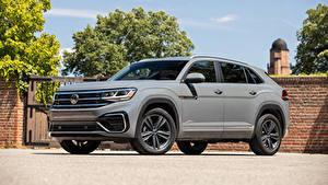 Hintergrundbilder Volkswagen Crossover Graues Metallisch Atlas Cross Sport SE R-Line, 2020 automobil