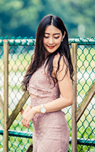 Fotos Asiatische Lächeln Kleid Zaun Bokeh junge frau