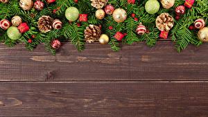Hintergrundbilder Neujahr Bretter Kugeln Zapfen