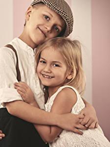 Picture Love Little girls Boys Smile Hug Two Children