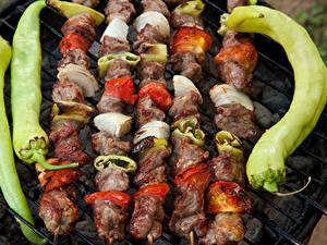 Hintergrundbilder Schaschlik Fleischwaren Gemüse Peperone